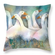 A Disorderly Group Of Geese Throw Pillow