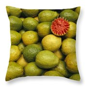 A Display Of Guavas In An Open Air Throw Pillow