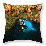 A Diver Explores A Cavern With Orange Throw Pillow