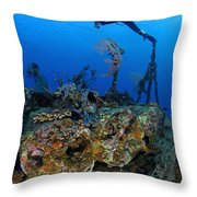 A Diver Hangs On To A Piece Of Ww2 Throw Pillow