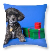 A Dog With Some Gifts Throw Pillow
