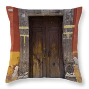 A Door In A Painted Building Throw Pillow