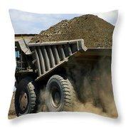 A Dump Truck Carrying Gravel Kicks Throw Pillow
