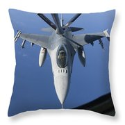 A Dutch F-16am Conducts In-flight Throw Pillow
