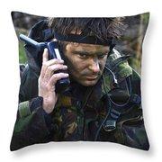 A Dutch Patrol Commander Communicates Throw Pillow