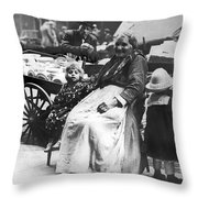 A Family And Their Push Cart Throw Pillow