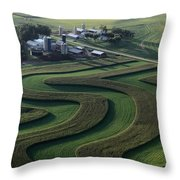 A Farm With Curved And Twisting Fields Throw Pillow
