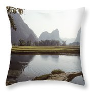 A Farm Worker Carries Water On Shoulder Throw Pillow