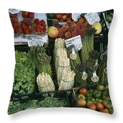 A Farmers Market Selling Vegetables Throw Pillow