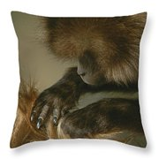 A Female Gelada, Theropithecus Gelada Throw Pillow