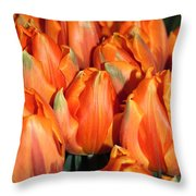 A Field Of Orange Tulips Throw Pillow
