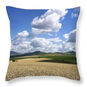 A Field Of Wheat Auvergne. France Throw Pillow