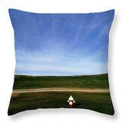A Fire Hydrant In A Green Field Throw Pillow