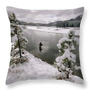 A Fisherman Tries His Luck Throw Pillow