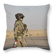 A Flight Crew Member Stands Throw Pillow