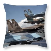 A Flight Of Aggressor F-15 And F-16 Throw Pillow