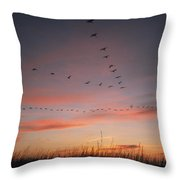 A Flock Of Common Cranes Flying Throw Pillow