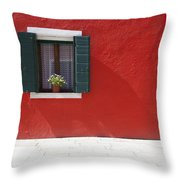 A Flower Pot Sits In A Window With Throw Pillow