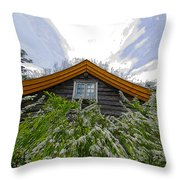 A Flowery House In Norway Throw Pillow