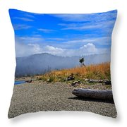 A Foggy Morning At Whiffin Spit Throw Pillow