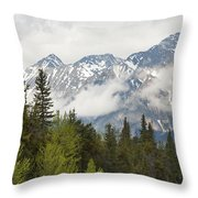 A Forest And The Rocky Mountains Throw Pillow