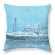 A Fortier Docked In Maine Throw Pillow