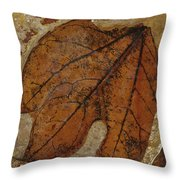A Fossilized  Sassafras Leaf Throw Pillow