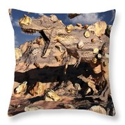 A Fossilized T. Rex Bursts To Life Throw Pillow
