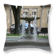 A Fountain In Silute Lithuania Throw Pillow