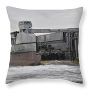 A French Landing Craft Comes Ashore Throw Pillow