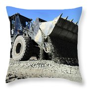 A Front End Loader Raising A Road Bed Throw Pillow