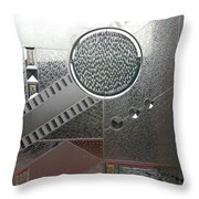 A Frosted Glass Window With An Interesting Pattern Throw Pillow