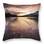 A Frozen Straumen Lake On Tjeldoya Throw Pillow by Arild Heitmann