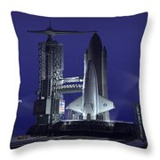 A Futuristic Space Shuttle Awaits Throw Pillow by Walter Myers