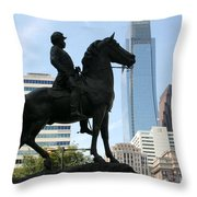 A General And His Horse In Philly Throw Pillow