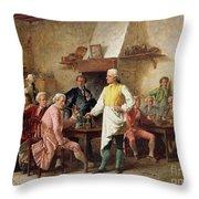 A Gentleman's Debate Throw Pillow by Benjamin Eugene Fichel