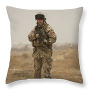 A German Army Soldier Armed With A M4 Throw Pillow