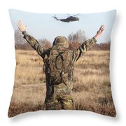 A German Army Soldier Guides A Ch-53gs Throw Pillow