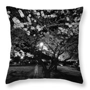 A Ghost In The Cherry Blossoms Throw Pillow