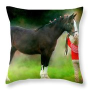 A Girl And Her Horse Throw Pillow