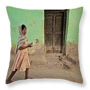 A Girl By A Door Throw Pillow