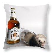 A Glass Of Fursty Ferret Throw Pillow