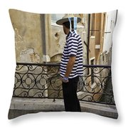 A Gondolier In Venice Throw Pillow
