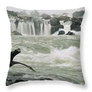 A Great Blue Heron Stretches Its Neck Throw Pillow