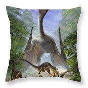 A Group Of Balaur Bondoc Dinosaurs Throw Pillow