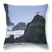 A Gull Sits On A Rock At Cannon Beach Throw Pillow