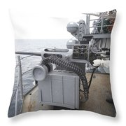 A Gunner Mans A Mk-38 Machine Gun Throw Pillow