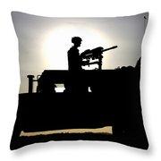 A Gunner Mans An Mk-19 40mm Machine Gun Throw Pillow