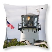 A Hawk Sits Next To Weather Instruments On Top Of Chatham Lighth Throw Pillow