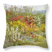 A Herbaceous Border Throw Pillow